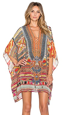 Camilla Lace Up Mini Caftan in Oaxaca Wings