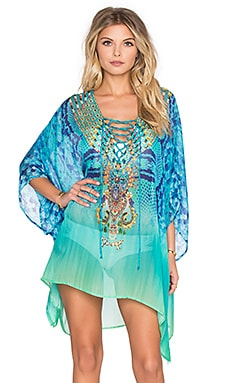 Camilla Short Lace Up Caftan in New Horizon