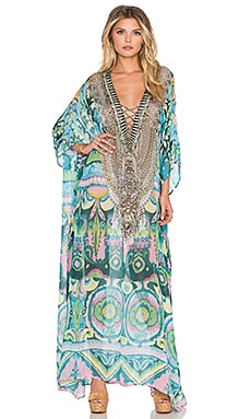 Camilla Long Lace Up Caftan in Plaza Nueva