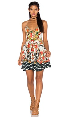 Camilla Tie Front Short Dress in La Rosa