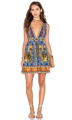Camilla V Neck Tie Short Dress in La Chaquetilla