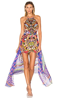 Camilla Sheer Overlay Dress in Rainbow Warrior