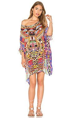 Camilla Short Round Neck Kaftan in Rainbow Warrior
