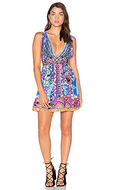 Camilla V Neck Tie Short Dress in Alice In Essaouira