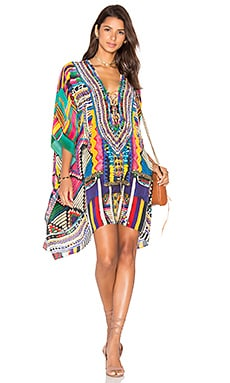 Camilla Short Lace Up Kaftan in Woven Wonderland