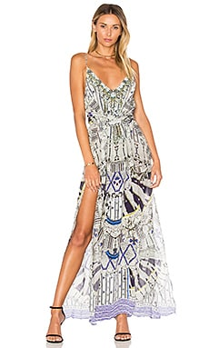 Multi Layer V Neck Long Dress in Singing Wells