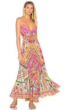 Long Dress with Tie Front in Hani Honey