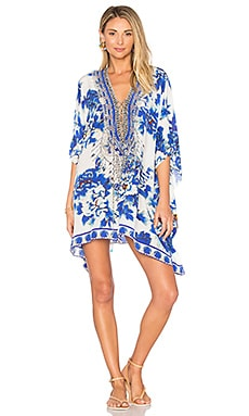 Short Lace Up Caftan in Ring Of Roses