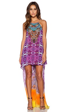 Camilla Short Sheer Overlay Dress in Horizon Daze