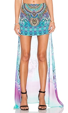 Camilla Long Back Short Skirt in Tides of Aurora