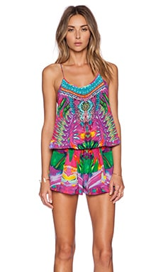 Camilla Shoestring Strap Playsuit in Colour Weaving