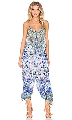 Camilla Shoestring Strap Jumpsuit in Temptress of The Deep