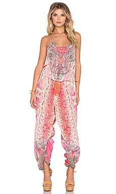 Camilla Wrap Waist Jumpsuit in Sea Serpent