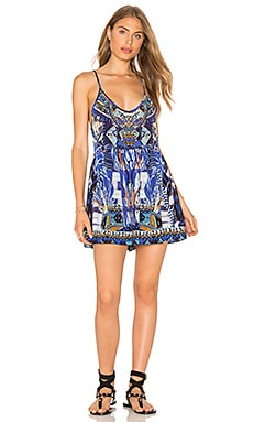 Gathered Wide Leg Playsuit in Rhythm & Blues