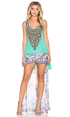 Long Back Scoop Neck Tank in Turquoise