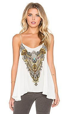 Camilla Shoestring Strap Tank in White