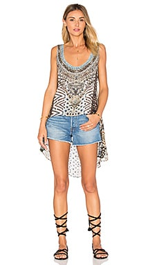 Long Back Scoop Neck Singlet Top in Imperial Echo