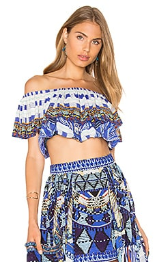 Camilla Midriff Frill Top in Rhythm & Blues