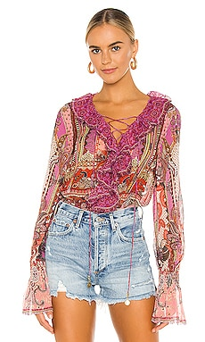 Lace Up Ruffle Blouse Camilla $599