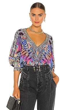 Raglan Sleeve Button Up Top Camilla $599 NEW