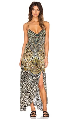 Camilla Low V Back Split Long Dress