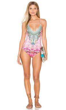 Camilla Cross Back Straps One Piece in Belleza Flor