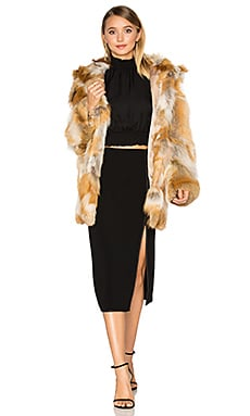 Windsor Fox Fur Coat en Imprimé Naturel