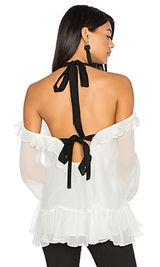 Amina Blouse in Ivory & Black