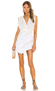 Asymmetrical Embroidered Ruffle Dress CHIO $475