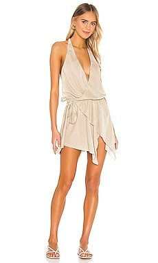 Gold Wrap Lurex Dress CHIO $297