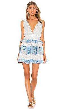 Silk Ruffle Macrame Mini Dress CHIO $449 NEW ARRIVAL