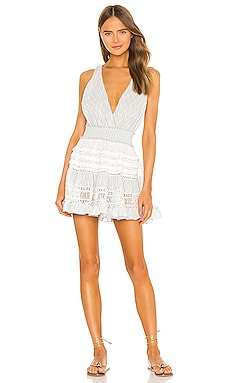 Knit Ruffle Macrame Mini Dress CHIO $385