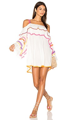 Off The Shoulder Dress in White Multi