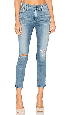 Rocket High Rise Crop Skinny in Distressed Fizzle