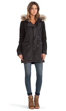 Citizens of Humanity Parka with Faux Fur Collar in Fade Black