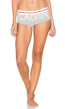 Modern Cotton Logo Boyshort en Gris Chiné
