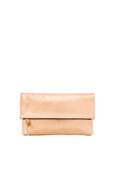 Clare V. Foldover Clutch in Rose Gold