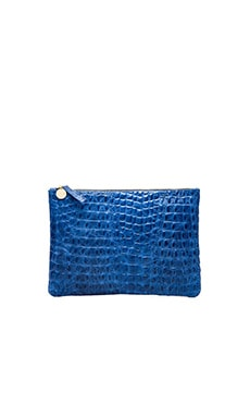 Clare V. Flat Clutch in Royal Blue Croco