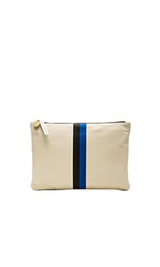Clare V. Flat Clutch in Wool Milano, Black & Royal Blue Stripes