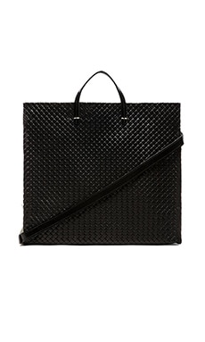 Clare V. Simple Tote in Black Basketweave