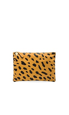 Clare V. Flat Clutch in Jaguar Print