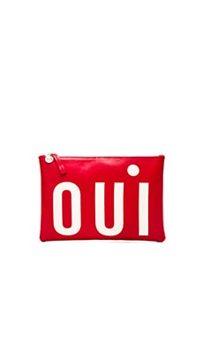 Clare V. Flat Clutch in Poppy & Cream Oui
