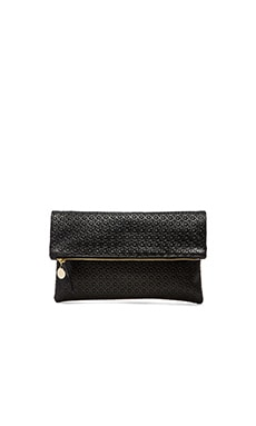 Clare V. Foldover Clutch in Black Rattan