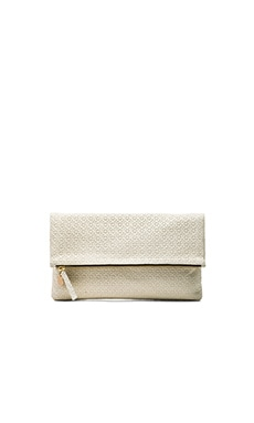 Clare V. Foldover Clutch in Cream Rattan