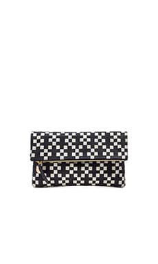 Clare V. Foldover Clutch in Navy & Cream Hopscotch Print