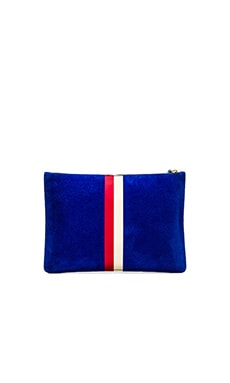 Clare V. Margot Flat Clutch in Electric Blue, Red & Cream Stripes