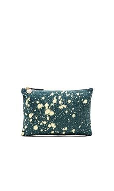 Clare V. Flat Clutch in Washed Denim & Bleach Spots