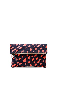 Clare V. Foldover Clutch in Poppy Jaguar Print