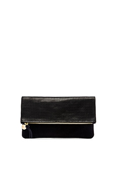 Clare V. Foldover Clutch in Black Perf & Navy Suede