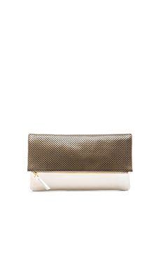 Clare V. Foldover Clutch in Grey Perf & White